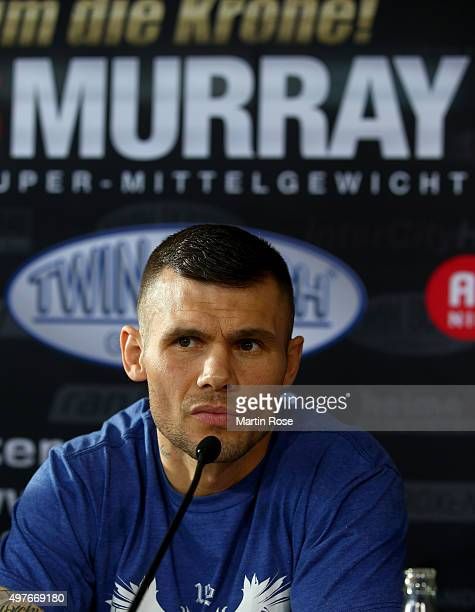 Martin Murray of Great Britain attends a press conference ahead of the WBO Super Middleweight World Championship fight between Arthur Abraham and...