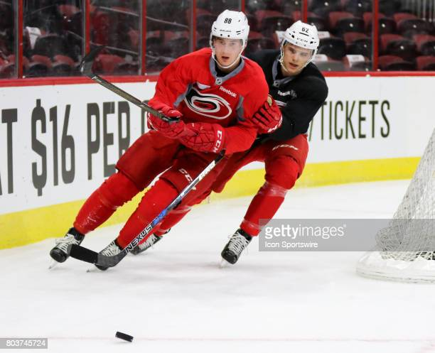 Martin Necas and Brendan De Jong during the Carolina Hurricanes Development Camp on June 29 2017 at the PNC Arena in Raleigh NC