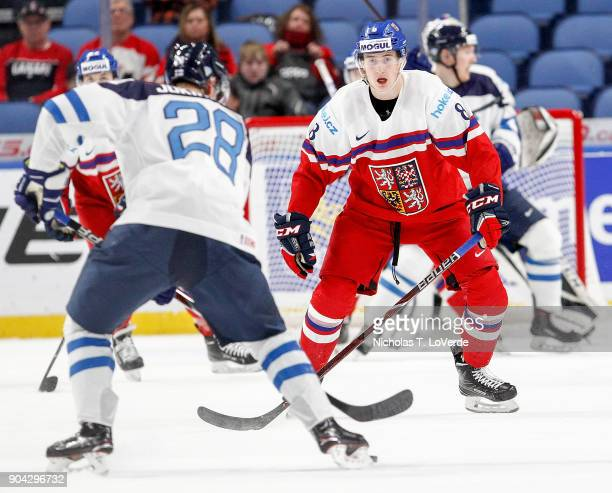 Martin Necas of Czech Republic defends his net against Henri Jokiharju of Finland during the first period of play in the IIHF World Junior...