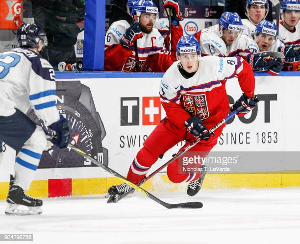 Martin Necas of Czech Republic skates the puck against Finland during the third period of play in the IIHF World Junior Championships Quarterfinal...