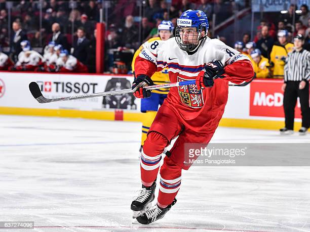 Martin Necas of Team Czech Republic skates during the 2017 IIHF World Junior Championship preliminary round game against Team Sweden at the Bell...