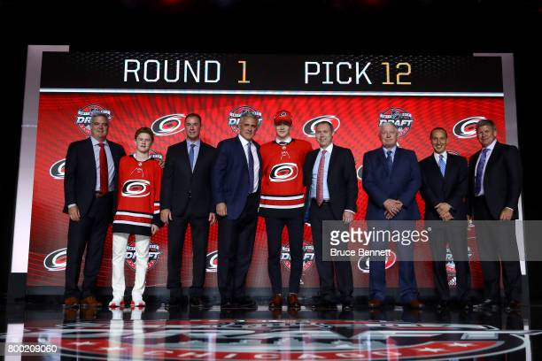 Martin Necas poses for photos after being selected 12th overall by the Carolina Hurricanes during the 2017 NHL Draft at the United Center on June 23...