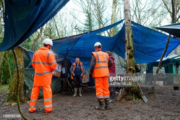 Martin Newman from Save Cubbington Woods and Stop HS2 campaign groups speaks to HS2 workers at a protest camp in South Cubbington Wood Leamington Spa...