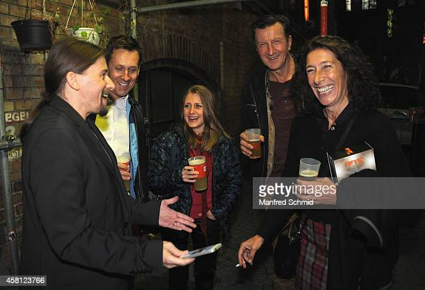 Martin Oberhauser Hubsi Kramar and Adele Neuhauser attend the DVDReleaseParty of Werner Brix at WUK on October 29 2014 in Vienna Austria