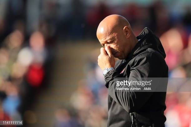 Martin O'Connor the head coach / manager of Walsall during the Sky Bet League One match between Shrewsbury Town and Walsall at New Meadow on May 4...