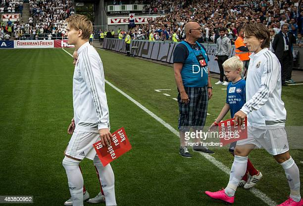 Martin Odegaard and Luca Modric of Real Madrid during Preseason Friendly match between Vaalerenga and Real Madrid at Ullevaal Stadion on August 9...