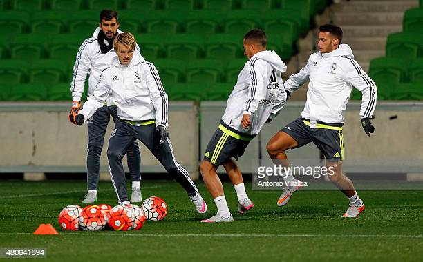 Martin Odegaard and Lucas Vazquez of Real Madrid during a training session on July 14 2015 in Melbourne Australia