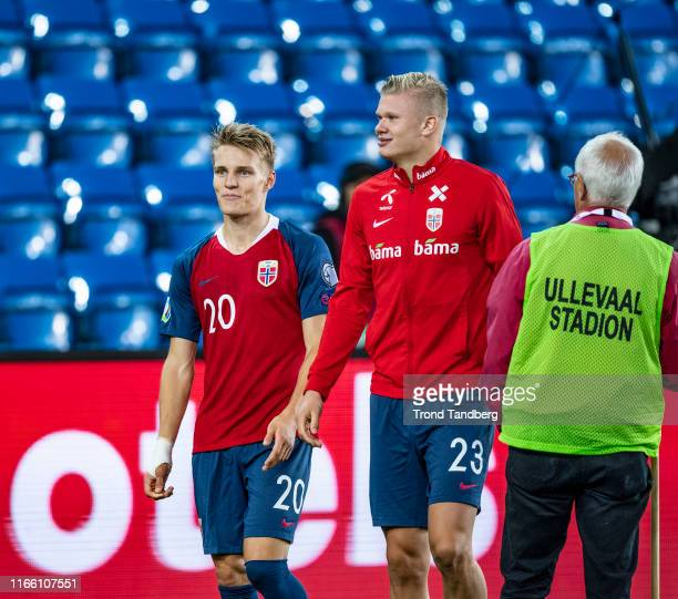 Martin Odegaard Erling Braut Haaland of Norway after during the UEFA Euro 2020 qualifier between Norway and Malta at Ullevaal Stadion on September 5...