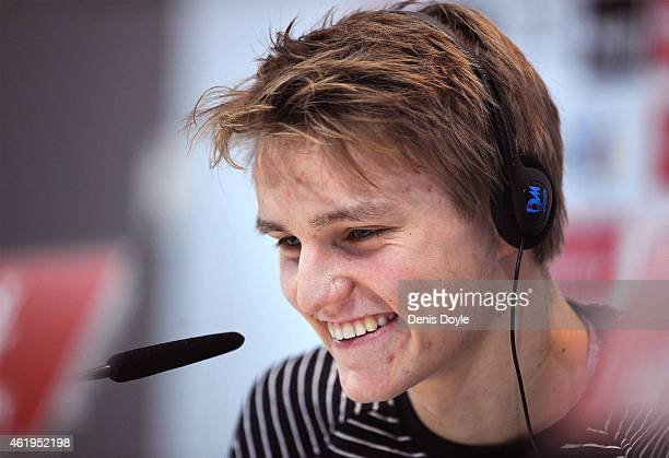 Martin Odegaard from Norway answers a question from a member of the media during his press conference at Real Madrid's Valdebebas training grounds...