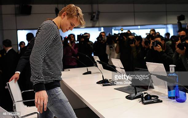 Martin Odegaard from Norway arrives for his press conference at Real Madrid's Valdebebas training grounds after he signed with Real on January 22...