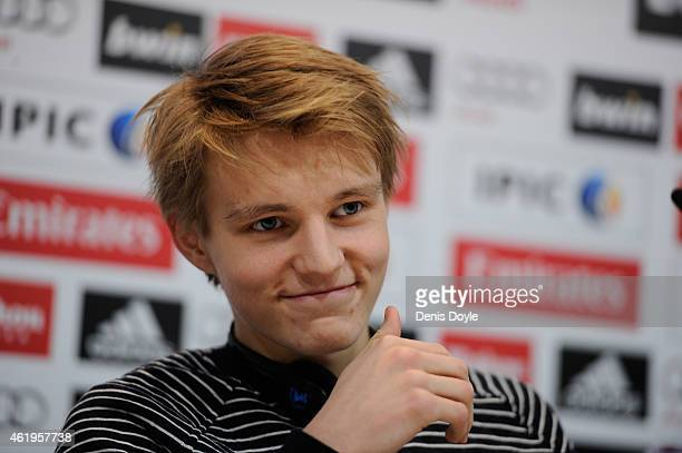 Martin Odegaard from Norway smiles during his press conference at Real Madrid's Valdebebas training grounds after he signed with Real on January 22...