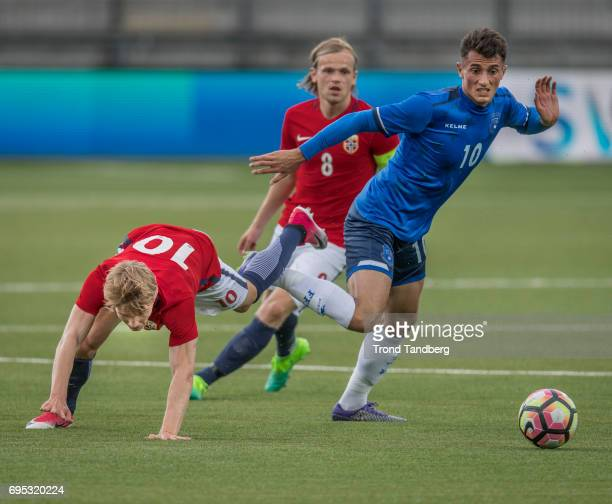 Martin Odegaard Iver Fossum of Norway Ron Broja of Kosovo during the Qualifying Round European Under 21 Championship 2019 between Norway v Kosovo at...