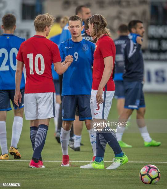 Martin Odegaard Julian Ryerson of Norway Bersant Celina of Kosovo after the Qualifying Round European Under 21 Championship 2019 between Norway v...