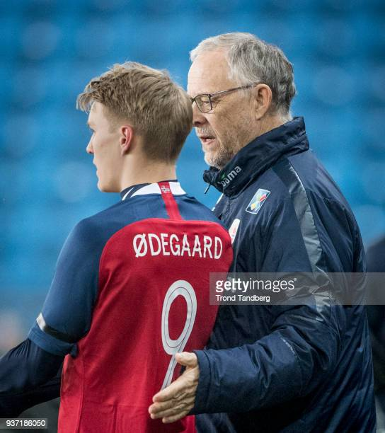 Martin Odegaard Lars Lagerback of Norway during International Friendly between Norway v Australia at Ullevaal Stadion on March 23 2018 in Oslo Norway