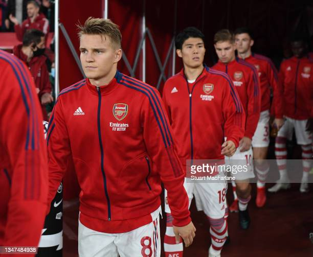 Martin Odegaard of Arsenal before the Premier League match between Arsenal and Crystal Palace at Emirates Stadium on October 18, 2021 in London,...