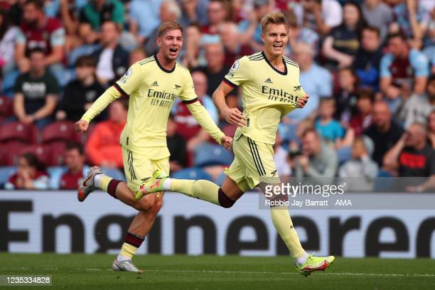 Martin Odegaard of Arsenal celebrates after scoring a goal to make it 0-1 during the Premier League match between Burnley and Arsenal at Turf Moor on...