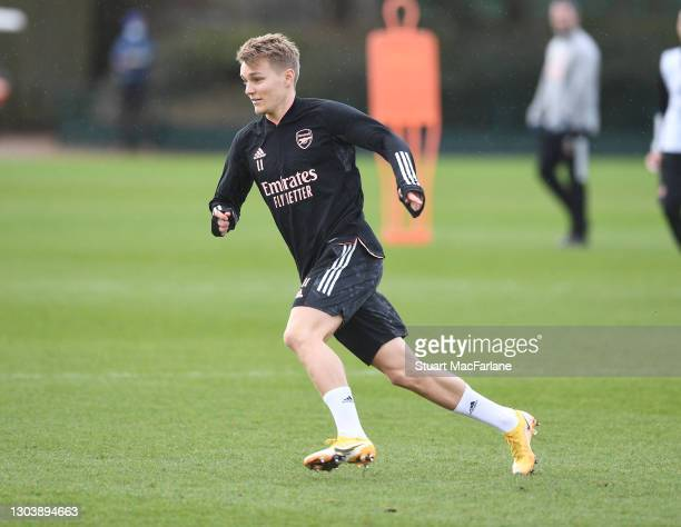 Martin Odegaard of Arsenal during a training session at London Colney on February 24, 2021 in St Albans, England.