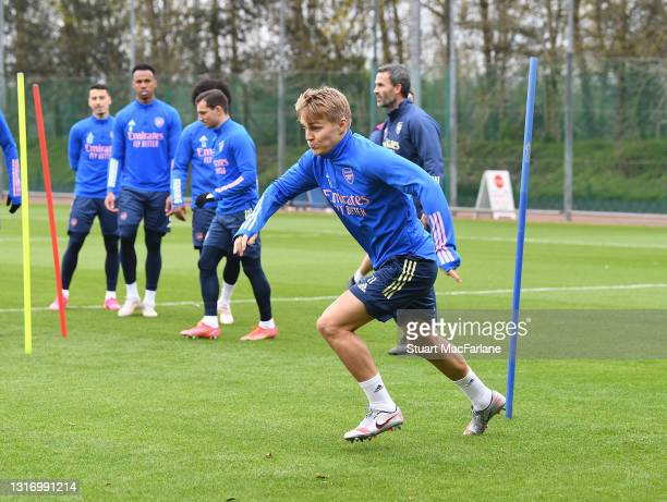 Martin Odegaard of Arsenal during a training session at London Colney on May 08, 2021 in St Albans, England.