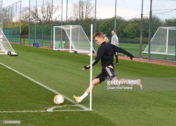 Martin Odegaard of Arsenal during a trining session at London Colney on February 24, 2021 in St Albans, England.