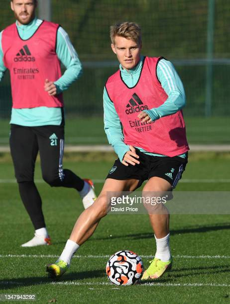 Martin Odegaard of Arsenal during the Arsenal 1st team training session at London Colney on October 21, 2021 in St Albans, England.