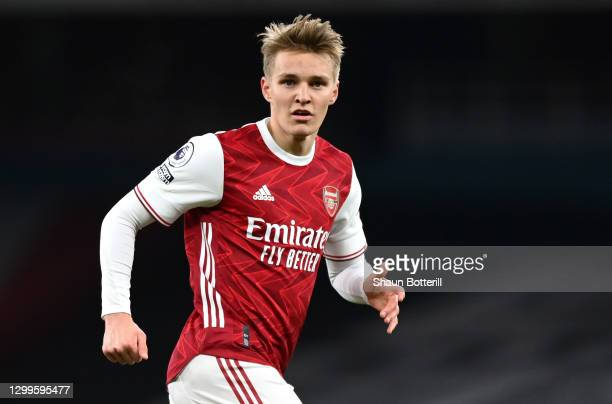 Martin Odegaard of Arsenal during the Premier League match between Arsenal and Manchester United at Emirates Stadium on January 30, 2021 in London,...