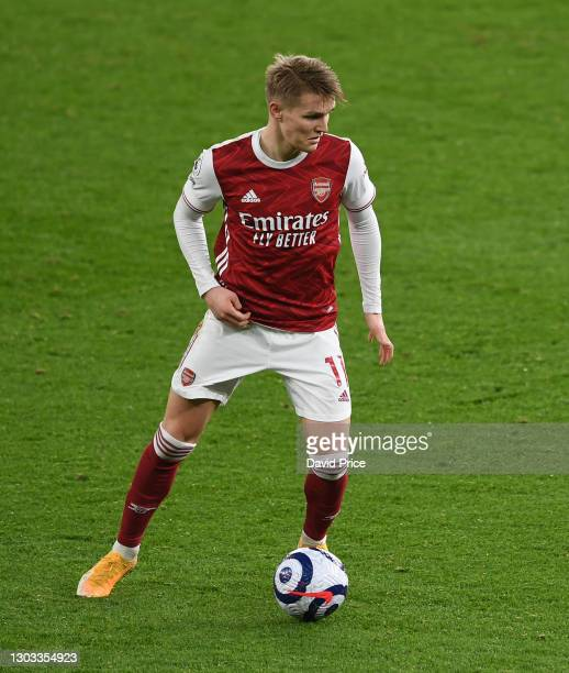Martin Odegaard of Arsenal during the Premier League match between Arsenal and Manchester City at Emirates Stadium on February 21, 2021 in London,...