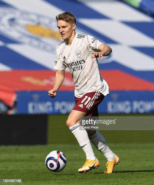 Martin Odegaard of Arsenal during the Premier League match between Leicester City and Arsenal at The King Power Stadium on February 28, 2021 in...