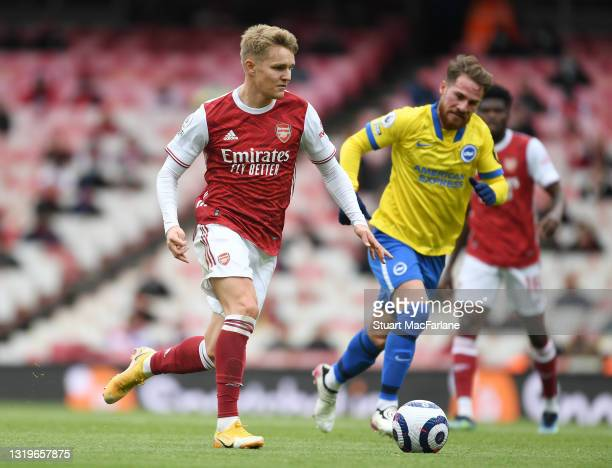 Martin Odegaard of Arsenal during the Premier League match between Arsenal and Brighton & Hove Albion at Emirates Stadium on May 23, 2021 in London,...