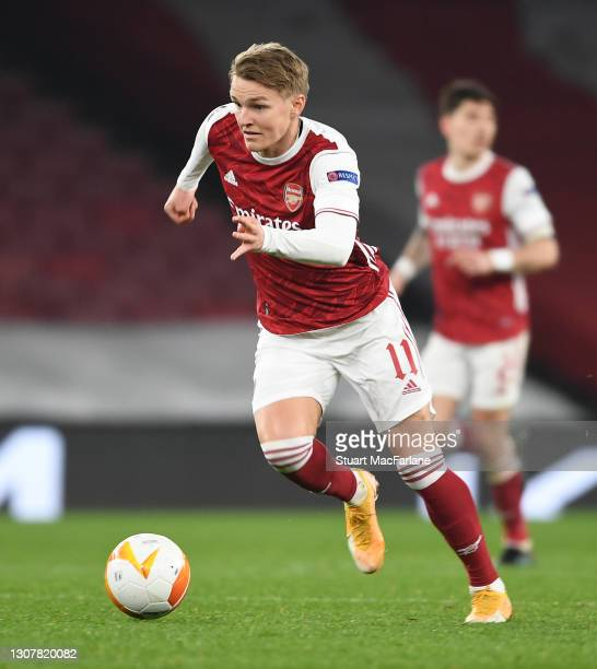 Martin Odegaard of Arsenal during the UEFA Europa League Round of 16 Second Leg match between Arsenal and Olympiacos at Emirates Stadium on March 18,...
