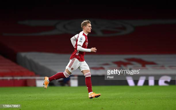 Martin Odegaard of Arsenal in action during the Premier League match between Arsenal and Manchester United at Emirates Stadium on January 30, 2021 in...