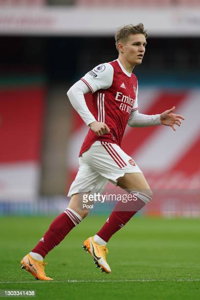 Martin Odegaard of Arsenal in action during the Premier League match between Arsenal and Manchester City at Emirates Stadium on February 21, 2021 in...