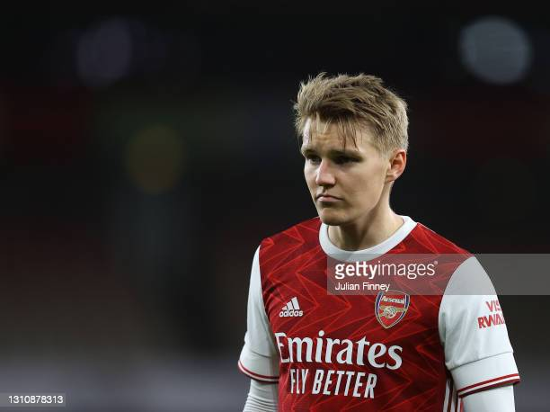 Martin Odegaard of Arsenal looks on during the Premier League match between Arsenal and Liverpool at Emirates Stadium on April 03, 2021 in London,...