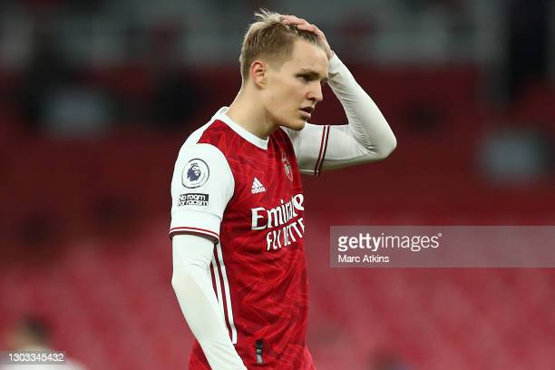 Martin Odegaard of Arsenal reacts during the Premier League match between Arsenal and Manchester City at Emirates Stadium on February 21, 2021 in...
