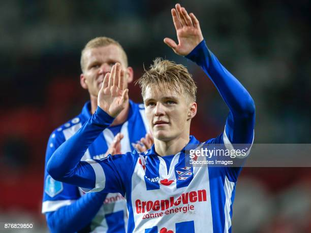 Martin Odegaard of Heerenveen celebrate the victory during the Dutch Eredivisie match between Fc Twente v SC Heerenveen at the De Grolsch Veste on...