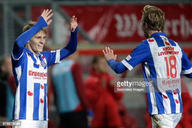 Martin Odegaard of Heerenveen clebrates 30 with Michel Vlap of Heerenveen during the Dutch Eredivisie match between Fc Twente v SC Heerenveen at the...
