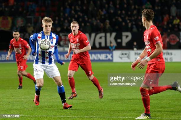 Martin Odegaard of Heerenveen Fredrik Jensen of FC Twente during the Dutch Eredivisie match between Fc Twente v SC Heerenveen at the De Grolsch Veste...
