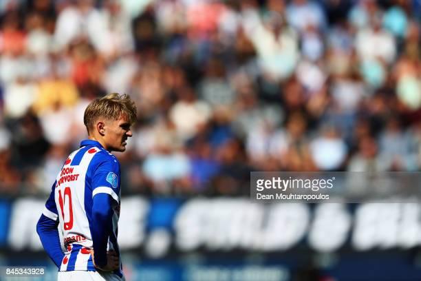 Martin Odegaard of Heerenveen in action during the Dutch Eredivisie match between SC Heerenveen and PSV Eindhoven held at Abe Lenstra Stadium on...