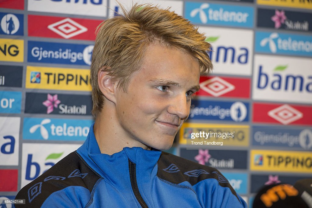 Martin Odegaard of Norway during a press conference at the Viking Stadion on August 26, 2014 in Stavanger, Norway. The 15 year old is set to become Norway's youngest ever international.