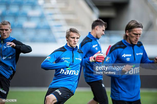 Martin Odegaard of Norway during a training session at the Viking Stadion on August 26 2014 in Stavanger Norway The 15 year old is set to become...