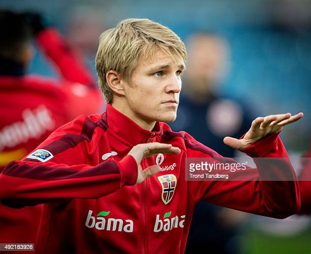 Martin Odegaard of Norway during heating before the EURO 2016 Qualifier between Norway and Malta at the Ullevaal Stadion on October 10 2015 in Oslo...