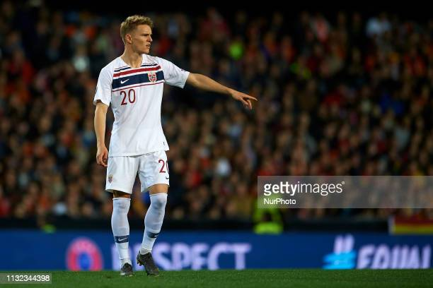 Martin Odegaard of Norway during the 2020 UEFA European Championships group F qualifying match between Spain and Norway at Estadi de Mestalla on...