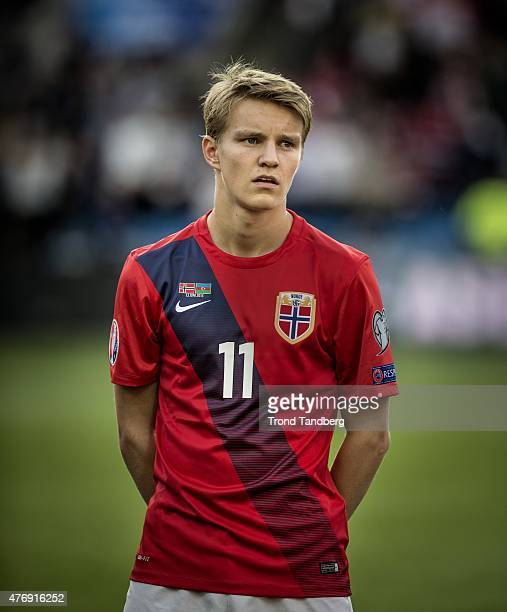Martin Odegaard of Norway during the EURO 2016 Qualifier between Norway and Azerbaijan at the Ullevaal stadium on June 12 2015 in Oslo Norway