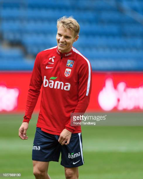 Martin Odegaard of Norway during training at Ullevaal Stadion on September 5 2018 in Oslo Norway