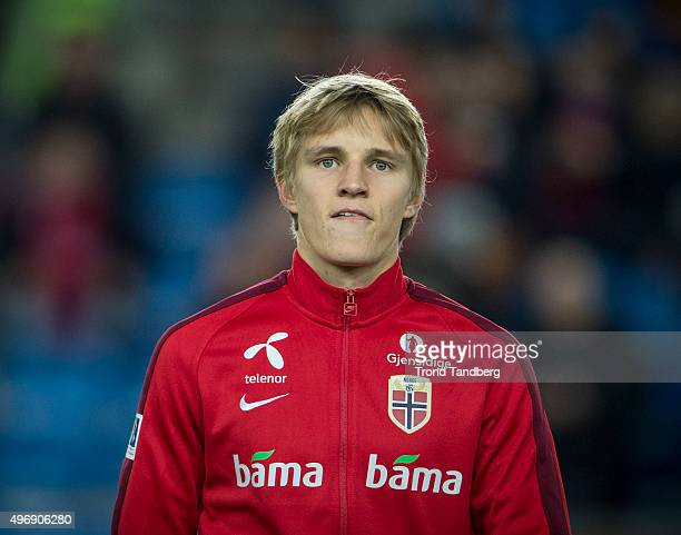 Martin Odegaard of Norway during training before the Euro 2016 Qualifier between Norway and Hungary at the Ullevaal Stadion on November 12 2015 in...