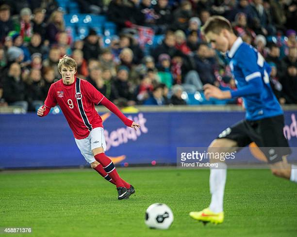 Martin Odegaard of Norway in action during the International Friendly match between Norway and Estonia at Ullevaal Stadion on November 12 2014 in...