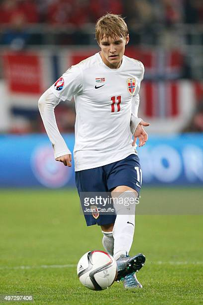 Martin Odegaard of Norway in action during the UEFA EURO 2016 qualifier playoff second leg match between Hungary and Norway at Groupama Stadium on...