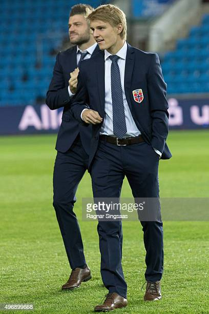 Martin Odegaard of Norway inspect the pitch at Ullevaal Stadion ahead of the UEFA EURO 2016 qualifier between Norway and Hungary on November 12 2015...