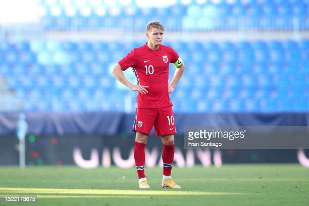 Martin Odegaard of Norway looks on during the International Friendly match between Norway and Greece at Estadio La Rosaleda on June 06, 2021 in...