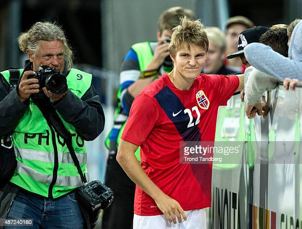 Martin Odegaard of Norway meeting greets fans after the U21 International match between Norway and England at Marienlyst Stadium on September 7 2015...