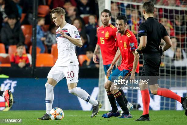 Martin Odegaard of Norway Sergio Busquets of Spain during the EURO Qualifier match between Spain v Norway at the Estadio de Mestalla on March 23 2019...
